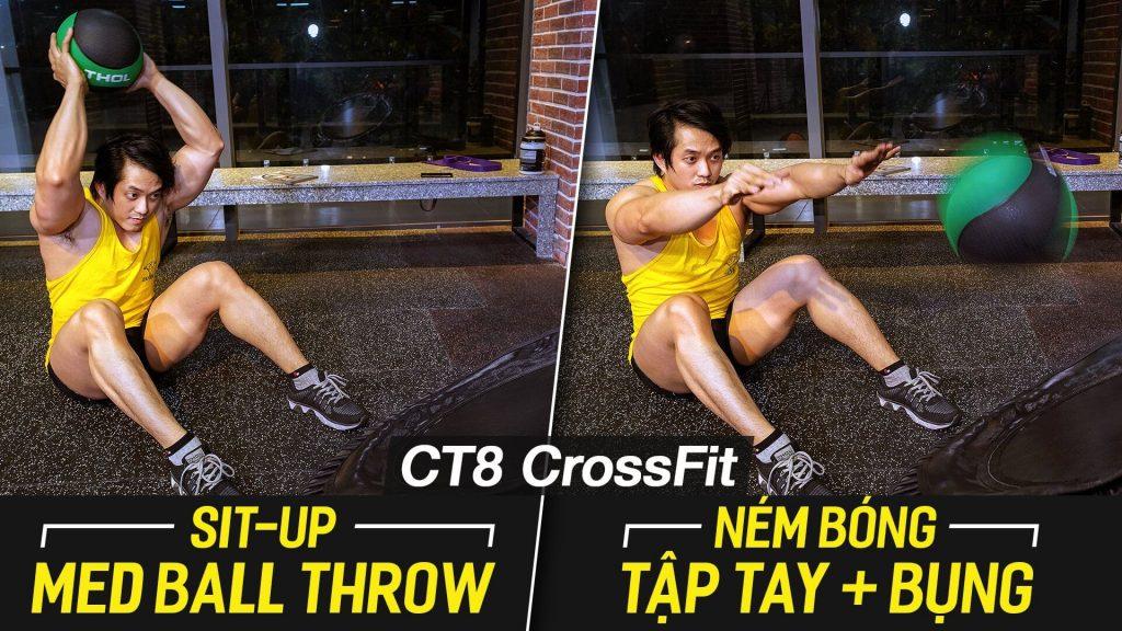 Sit-Up Med Ball Throw, ngồi ném bóng giúp giảm mỡ nhanh với máy CT8.